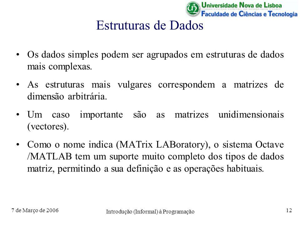 7 de Março de 2006 Introdução (Informal) à Programação 12 Estruturas de Dados Os dados simples podem ser agrupados em estruturas de dados mais complexas.