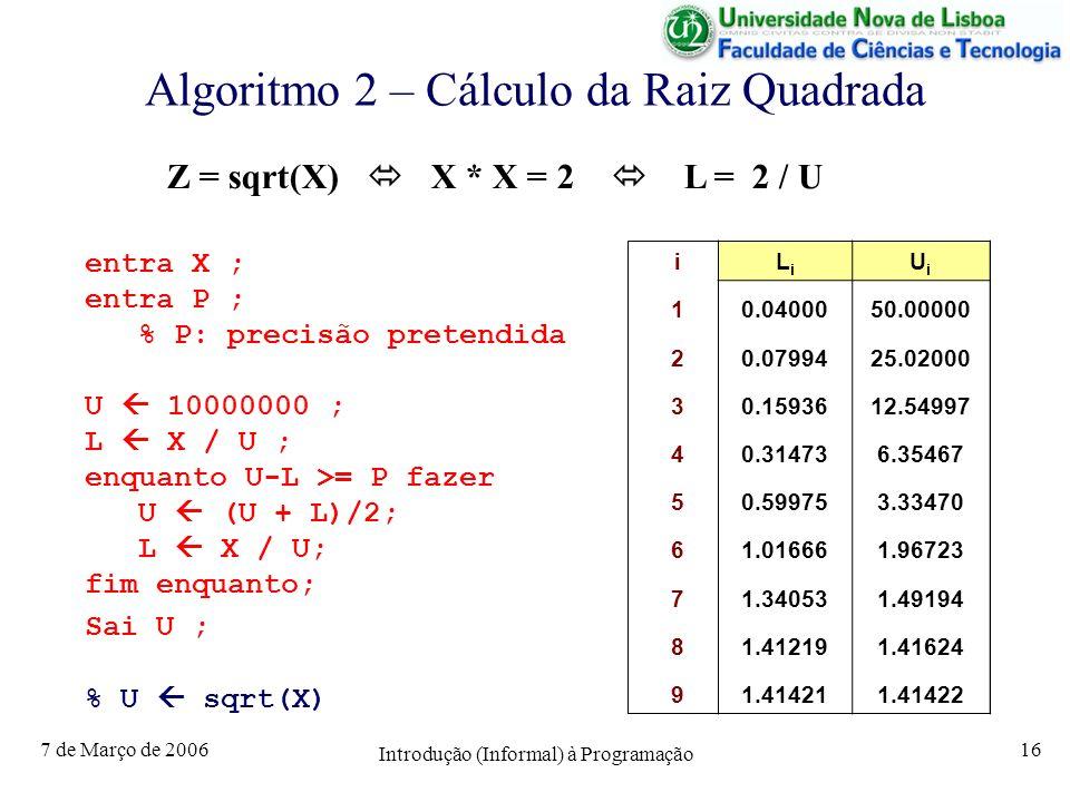 7 de Março de 2006 Introdução (Informal) à Programação 16 Algoritmo 2 – Cálculo da Raiz Quadrada entra X ; entra P ; % P: precisão pretendida U 10000000 ; L X / U ; enquanto U-L >= P fazer U (U + L)/2; L X / U; fim enquanto; Sai U ; % U sqrt(X) Z = sqrt(X) X * X = 2 L = 2 / U iLiLi UiUi 10.0400050.00000 20.0799425.02000 30.1593612.54997 40.314736.35467 50.599753.33470 61.016661.96723 71.340531.49194 81.412191.41624 91.414211.41422