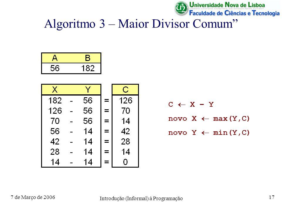 7 de Março de 2006 Introdução (Informal) à Programação 17 Algoritmo 3 – Maior Divisor Comum C X – Y novo X max(Y,C) novo Y min(Y,C)