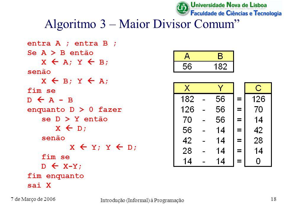 7 de Março de 2006 Introdução (Informal) à Programação 18 Algoritmo 3 – Maior Divisor Comum entra A ; entra B ; Se A > B então X A; Y B; senão X B; Y A; fim se D A - B enquanto D > 0 fazer se D > Y então X D; senão X Y; Y D; fim se D X-Y; fim enquanto sai X