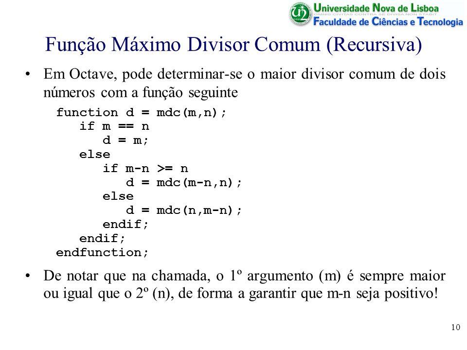 10 Função Máximo Divisor Comum (Recursiva) Em Octave, pode determinar-se o maior divisor comum de dois números com a função seguinte function d = mdc(