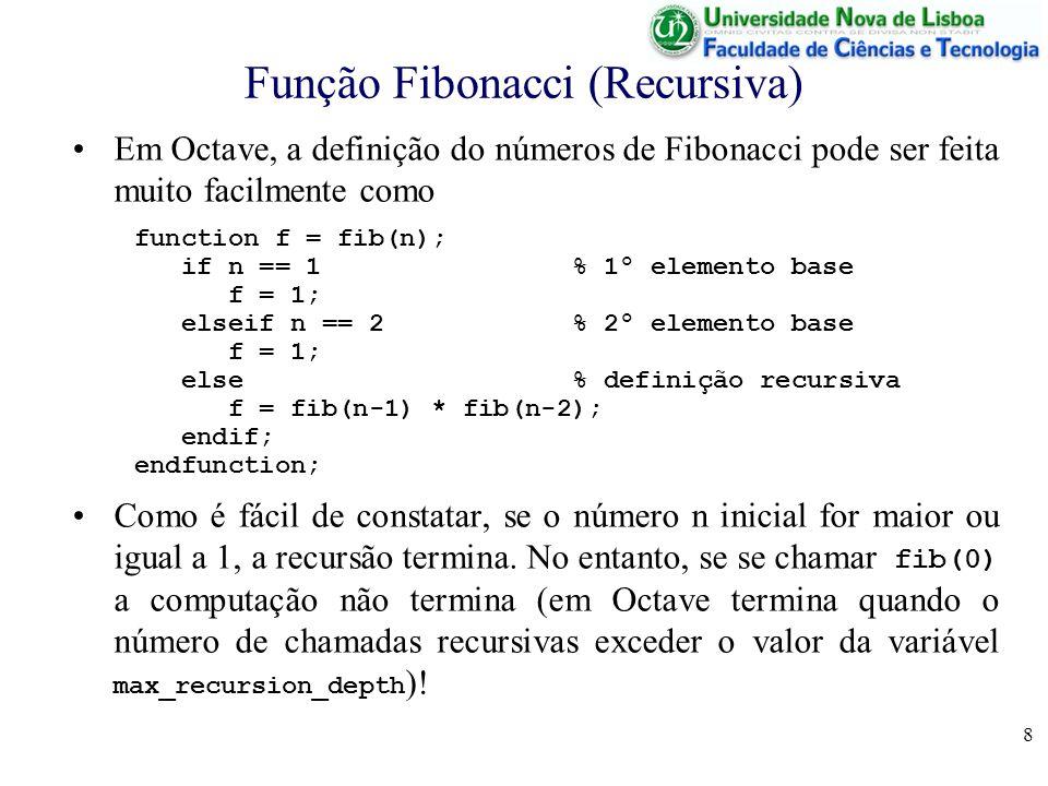 8 Função Fibonacci (Recursiva) Em Octave, a definição do números de Fibonacci pode ser feita muito facilmente como function f = fib(n); if n == 1 % 1º