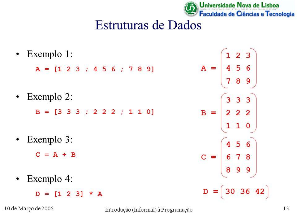 10 de Março de 2005 Introdução (Informal) à Programação 13 Estruturas de Dados Exemplo 1: A = [1 2 3 ; 4 5 6 ; 7 8 9] Exemplo 2: B = [3 3 3 ; 2 2 2 ;