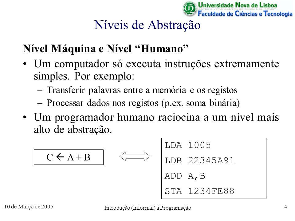 10 de Março de 2005 Introdução (Informal) à Programação 4 Níveis de Abstração Nível Máquina e Nível Humano Um computador só executa instruções extrema