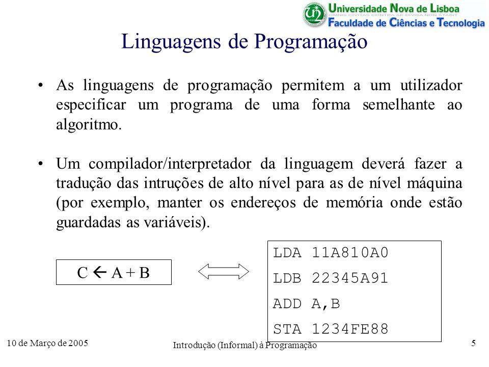 10 de Março de 2005 Introdução (Informal) à Programação 16 Algoritmo 3 – Teste da Primalidade entra N ; primo verdade ; limA = sqrt(N); para A de 2 a limA fazer limB = N / A; para B de A a limB fazer se A * B = N então primo falso; fim se; fim para se primo então sai o número é primo senão sai o número não é primo fim se; Exemplo: 23 sqrt(23) = 4.7958...