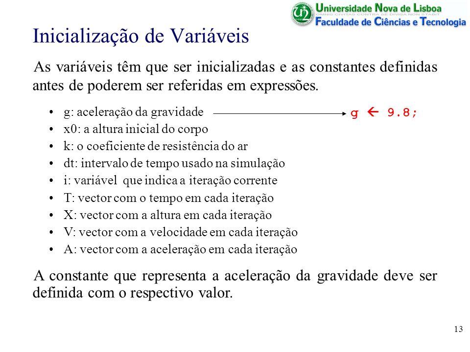 13 Inicialização de Variáveis As variáveis têm que ser inicializadas e as constantes definidas antes de poderem ser referidas em expressões. g: aceler