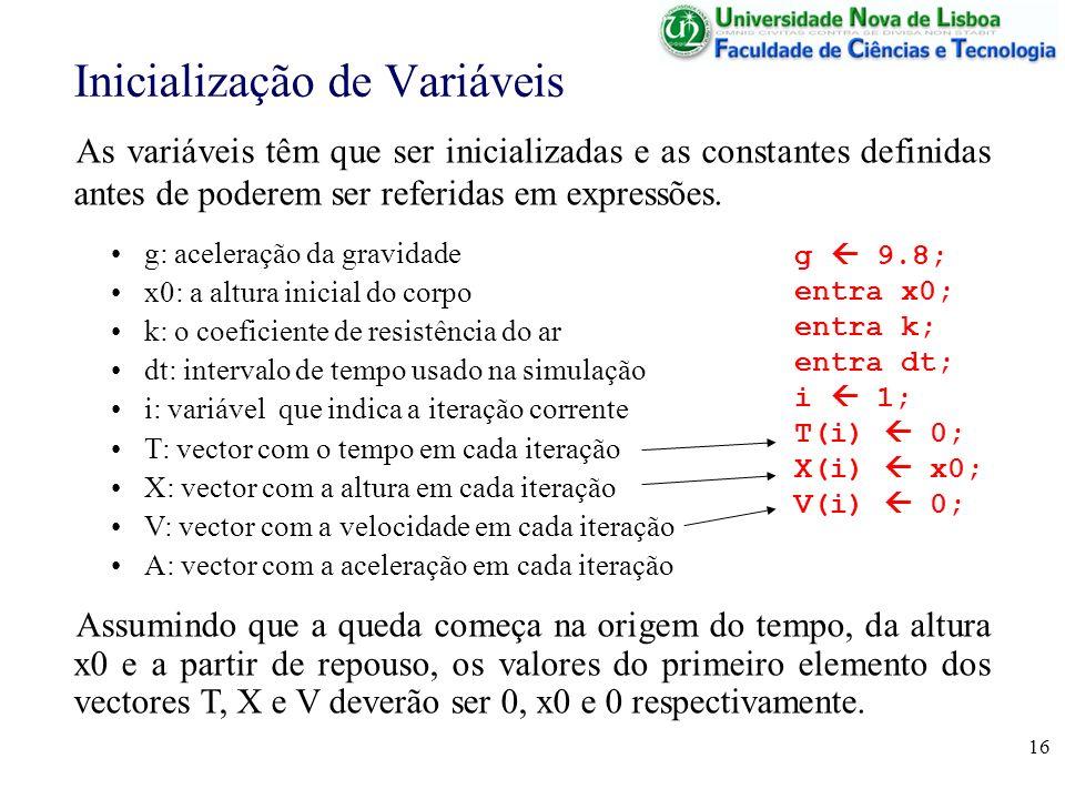 16 Inicialização de Variáveis As variáveis têm que ser inicializadas e as constantes definidas antes de poderem ser referidas em expressões. g: aceler