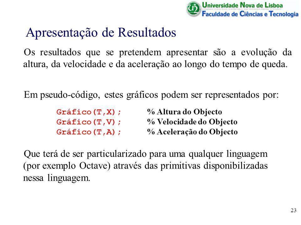 23 Apresentação de Resultados Os resultados que se pretendem apresentar são a evolução da altura, da velocidade e da aceleração ao longo do tempo de q