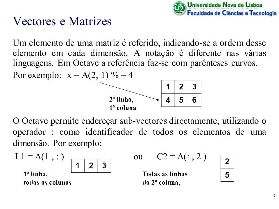 8 Vectores e Matrizes Um elemento de uma matriz é referido, indicando-se a ordem desse elemento em cada dimensão. A notação é diferente nas várias lin