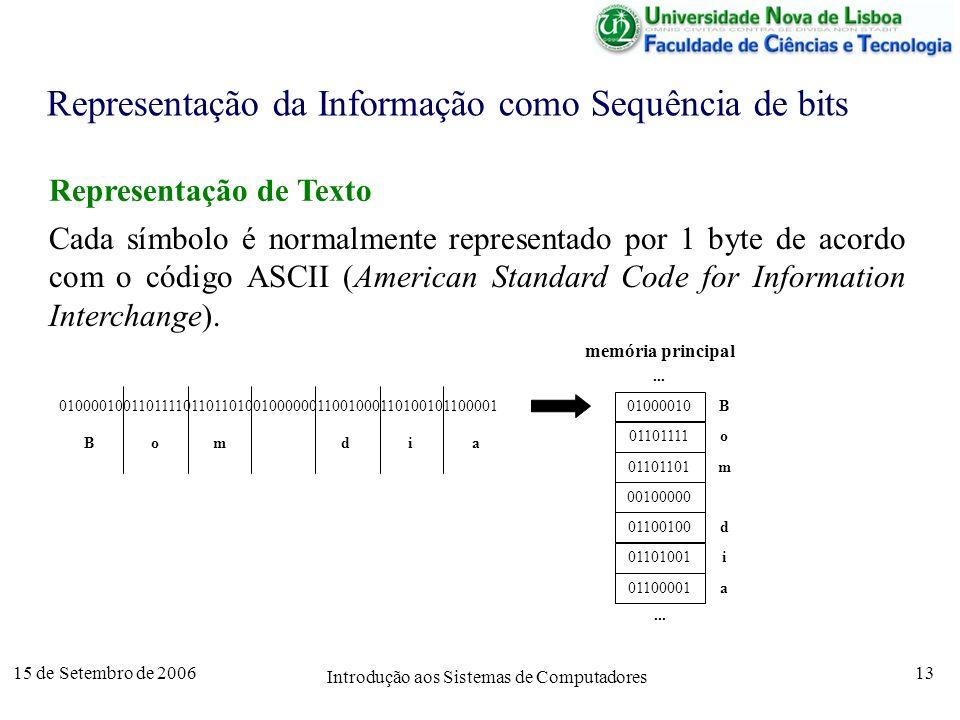 15 de Setembro de 2006 Introdução aos Sistemas de Computadores 13 Representação da Informação como Sequência de bits Representação de Texto Cada símbolo é normalmente representado por 1 byte de acordo com o código ASCII (American Standard Code for Information Interchange).