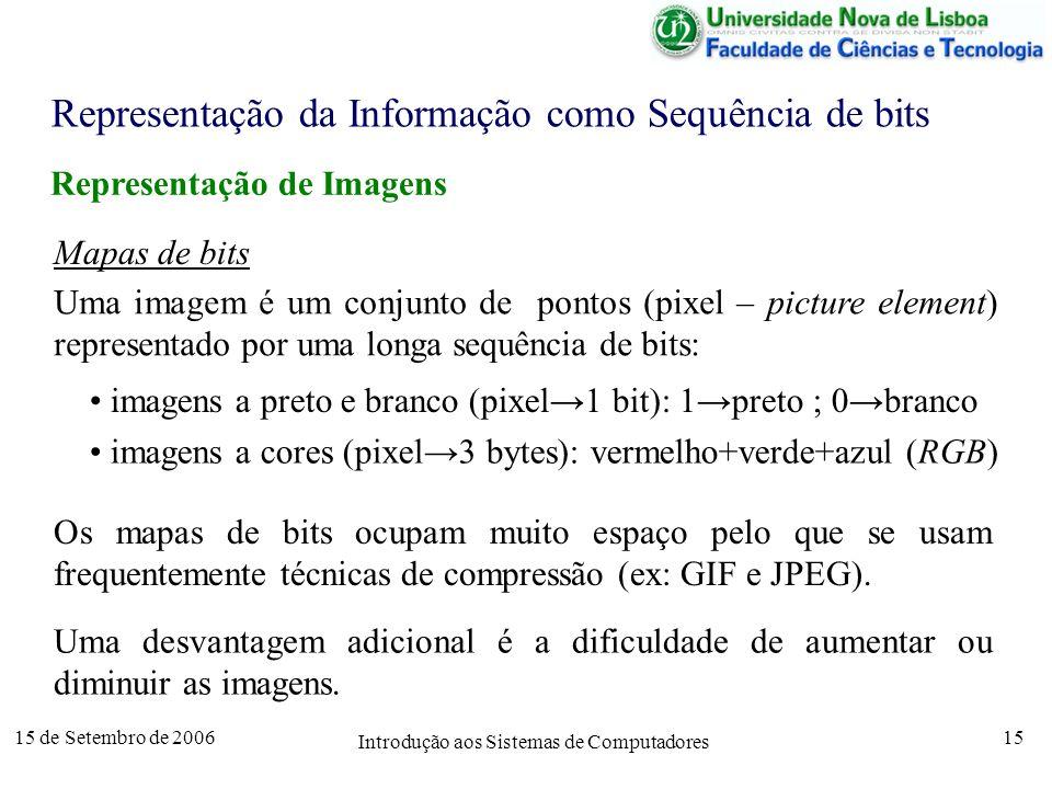 15 de Setembro de 2006 Introdução aos Sistemas de Computadores 15 Representação da Informação como Sequência de bits Representação de Imagens Mapas de bits Uma imagem é um conjunto de pontos (pixel – picture element) representado por uma longa sequência de bits: imagens a preto e branco (pixel1 bit): 1preto ; 0branco imagens a cores (pixel3 bytes): vermelho+verde+azul (RGB) Os mapas de bits ocupam muito espaço pelo que se usam frequentemente técnicas de compressão (ex: GIF e JPEG).