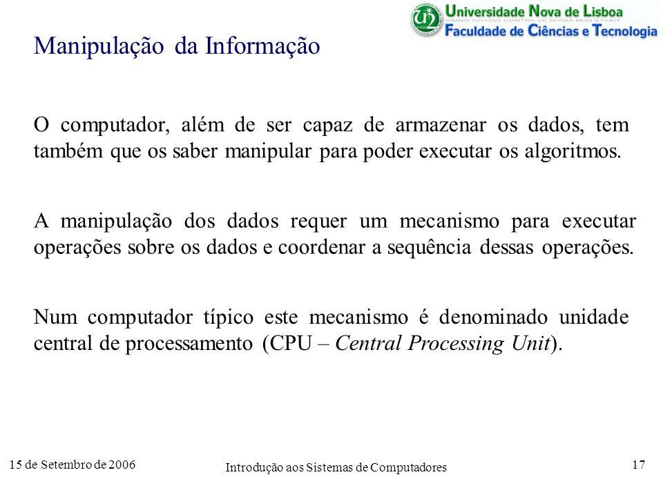 15 de Setembro de 2006 Introdução aos Sistemas de Computadores 17 Manipulação da Informação O computador, além de ser capaz de armazenar os dados, tem também que os saber manipular para poder executar os algoritmos.