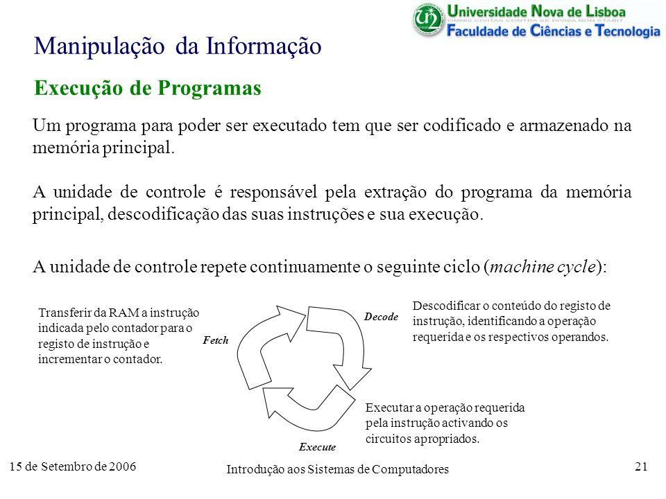 15 de Setembro de 2006 Introdução aos Sistemas de Computadores 21 Manipulação da Informação Execução de Programas Um programa para poder ser executado tem que ser codificado e armazenado na memória principal.