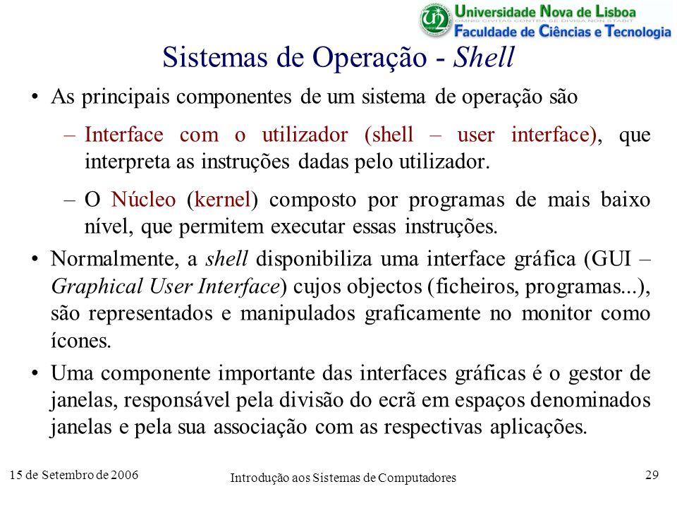 15 de Setembro de 2006 Introdução aos Sistemas de Computadores 29 Sistemas de Operação - Shell As principais componentes de um sistema de operação são –Interface com o utilizador (shell – user interface), que interpreta as instruções dadas pelo utilizador.