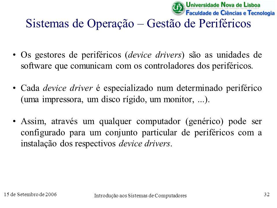 15 de Setembro de 2006 Introdução aos Sistemas de Computadores 32 Sistemas de Operação – Gestão de Periféricos Os gestores de periféricos (device drivers) são as unidades de software que comunicam com os controladores dos periféricos.