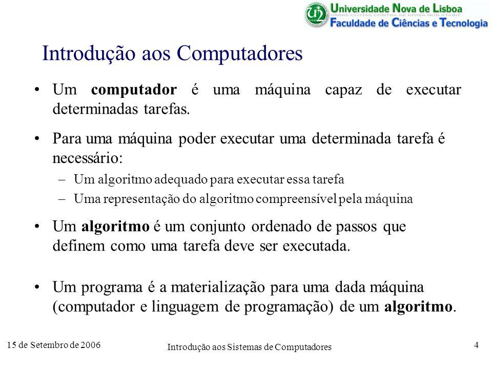 15 de Setembro de 2006 Introdução aos Sistemas de Computadores 4 Introdução aos Computadores Um programa é a materialização para uma dada máquina (computador e linguagem de programação) de um algoritmo.