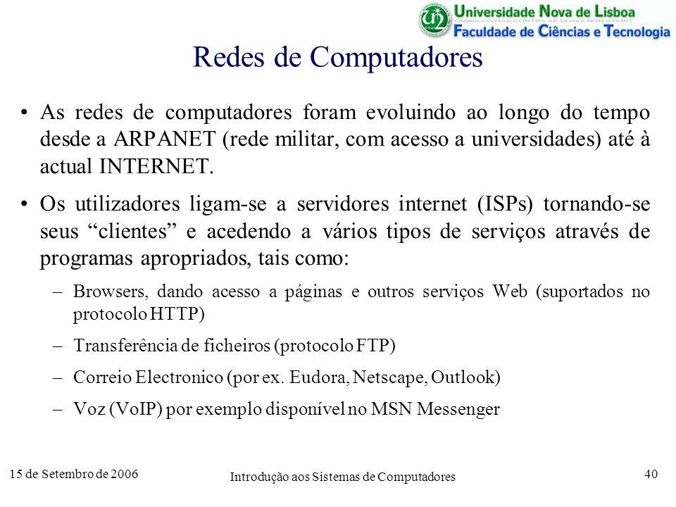 15 de Setembro de 2006 Introdução aos Sistemas de Computadores 40 Redes de Computadores As redes de computadores foram evoluindo ao longo do tempo desde a ARPANET (rede militar, com acesso a universidades) até à actual INTERNET.