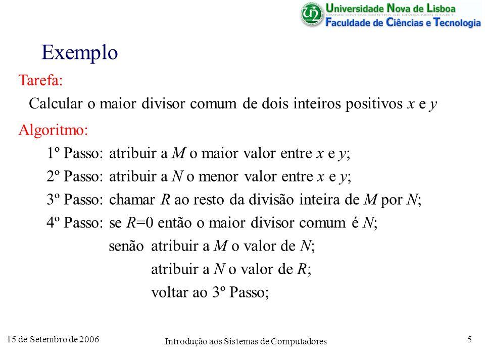 15 de Setembro de 2006 Introdução aos Sistemas de Computadores 5 Exemplo Tarefa: Calcular o maior divisor comum de dois inteiros positivos x e y Algoritmo: 1º Passo: atribuir a M o maior valor entre x e y; 2º Passo: atribuir a N o menor valor entre x e y; 3º Passo: chamar R ao resto da divisão inteira de M por N; 4º Passo: se R=0 então o maior divisor comum é N; senãoatribuir a M o valor de N; atribuir a N o valor de R; voltar ao 3º Passo;