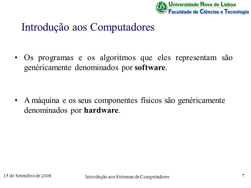 15 de Setembro de 2006 Introdução aos Sistemas de Computadores 7 Introdução aos Computadores Os programas e os algoritmos que eles representam são genéricamente denominados por software.