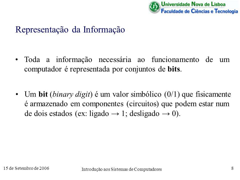 15 de Setembro de 2006 Introdução aos Sistemas de Computadores 8 Representação da Informação Toda a informação necessária ao funcionamento de um computador é representada por conjuntos de bits.