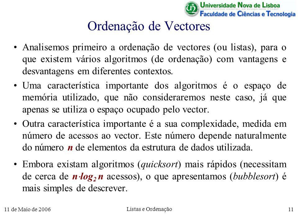 11 de Maio de 2006 Listas e Ordenação 11 Ordenação de Vectores Analisemos primeiro a ordenação de vectores (ou listas), para o que existem vários algo