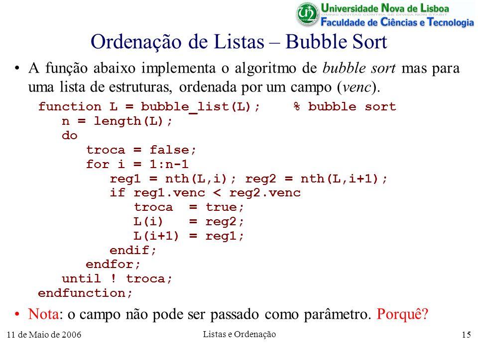11 de Maio de 2006 Listas e Ordenação 15 Ordenação de Listas – Bubble Sort A função abaixo implementa o algoritmo de bubble sort mas para uma lista de