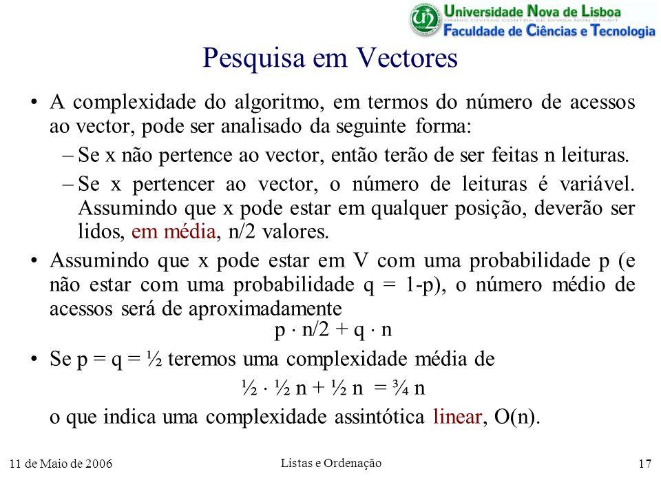 11 de Maio de 2006 Listas e Ordenação 17 Pesquisa em Vectores A complexidade do algoritmo, em termos do número de acessos ao vector, pode ser analisad
