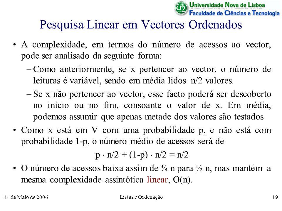 11 de Maio de 2006 Listas e Ordenação 19 Pesquisa Linear em Vectores Ordenados A complexidade, em termos do número de acessos ao vector, pode ser anal