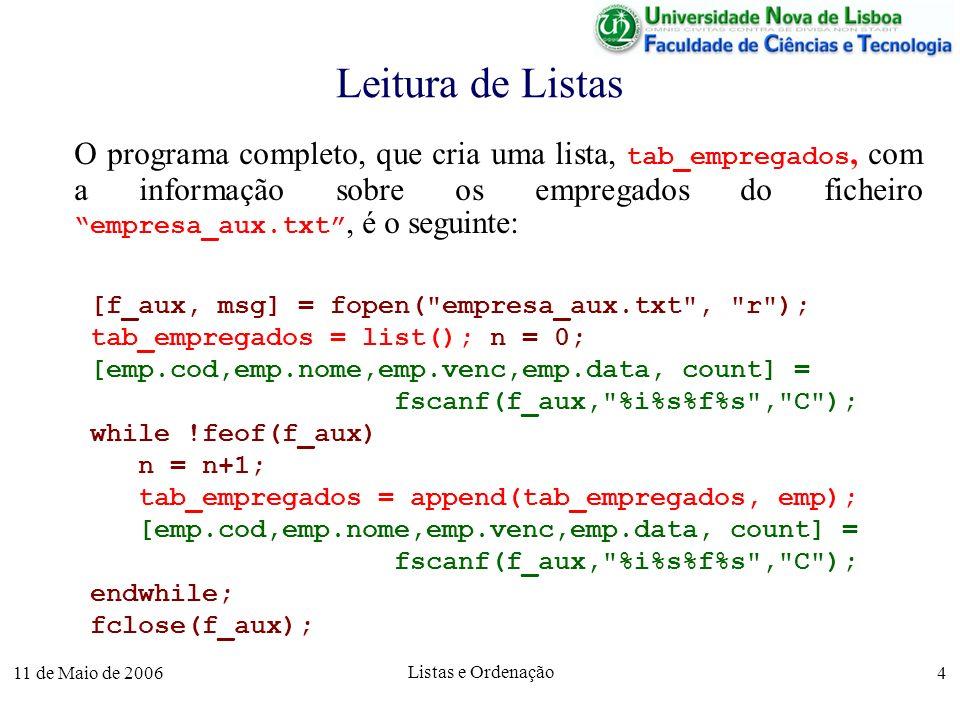11 de Maio de 2006 Listas e Ordenação 5 Estruturas e Listas em Funções Estruturas e listas podem ser retornadas como resultado de uma função.