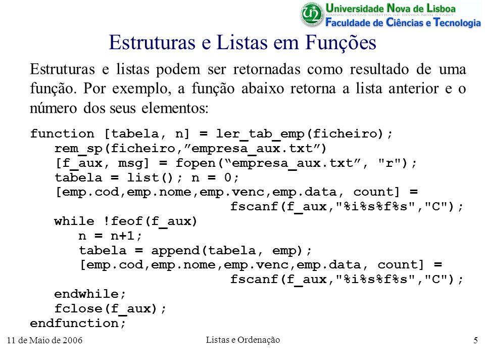 11 de Maio de 2006 Listas e Ordenação 5 Estruturas e Listas em Funções Estruturas e listas podem ser retornadas como resultado de uma função. Por exem