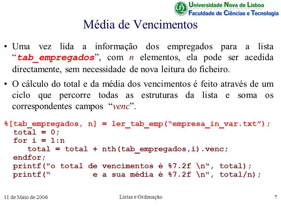 11 de Maio de 2006 Listas e Ordenação 18 Pesquisa Linear em Vectores Ordenados A complexidade da pesquisa pode ser melhorada se o vector está ordenado.