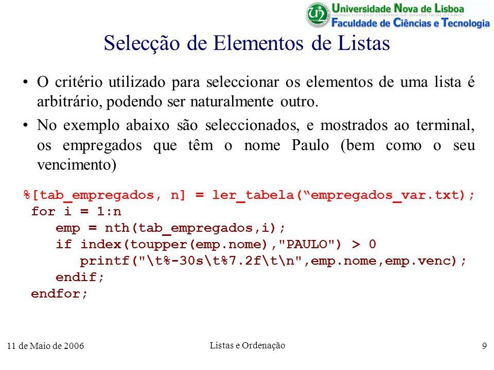 11 de Maio de 2006 Listas e Ordenação 9 Selecção de Elementos de Listas O critério utilizado para seleccionar os elementos de uma lista é arbitrário,