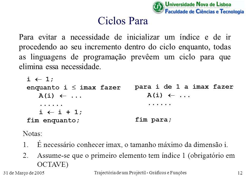 31 de Março de 2005 Trajectória de um Projéctil - Gráficos e Funções 12 Ciclos Para Para evitar a necessidade de inicializar um índice e de ir procedendo ao seu incremento dentro do ciclo enquanto, todas as linguagens de programação prevêem um ciclo para que elimina essa necessidade.