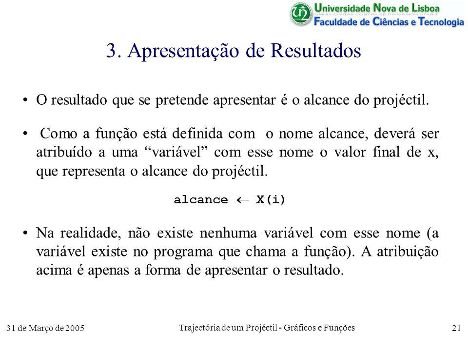 31 de Março de 2005 Trajectória de um Projéctil - Gráficos e Funções 21 3.