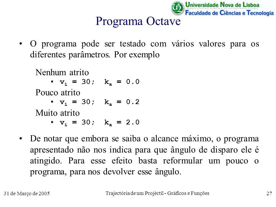 31 de Março de 2005 Trajectória de um Projéctil - Gráficos e Funções 27 Programa Octave O programa pode ser testado com vários valores para os diferentes parâmetros.