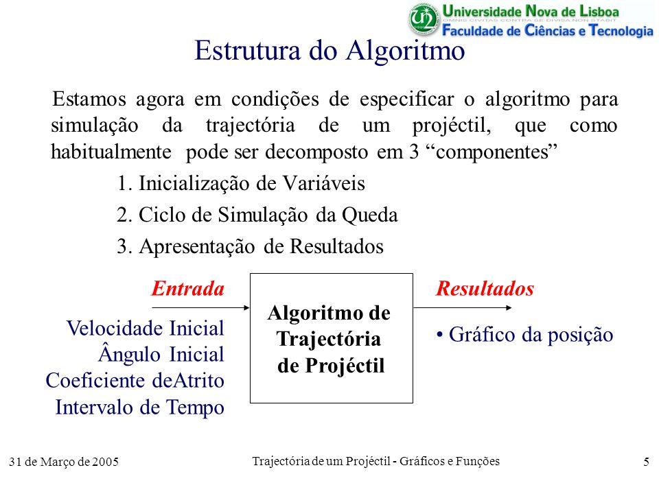 31 de Março de 2005 Trajectória de um Projéctil - Gráficos e Funções 5 Estrutura do Algoritmo Estamos agora em condições de especificar o algoritmo para simulação da trajectória de um projéctil, que como habitualmente pode ser decomposto em 3 componentes 1.
