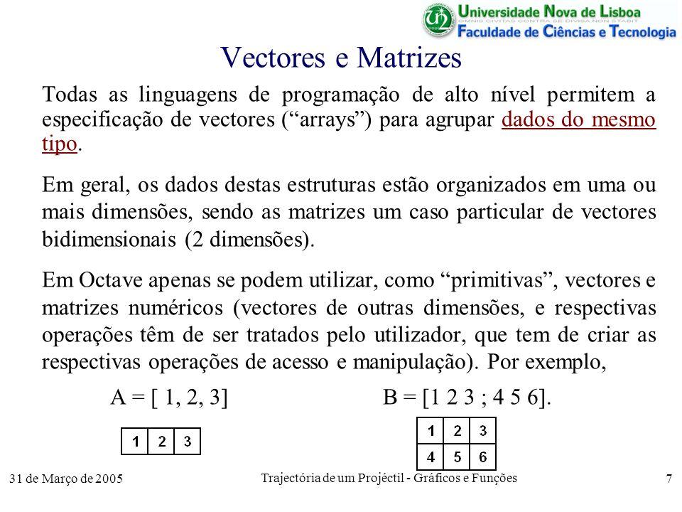 31 de Março de 2005 Trajectória de um Projéctil - Gráficos e Funções 7 Vectores e Matrizes Todas as linguagens de programação de alto nível permitem a especificação de vectores (arrays) para agrupar dados do mesmo tipo.