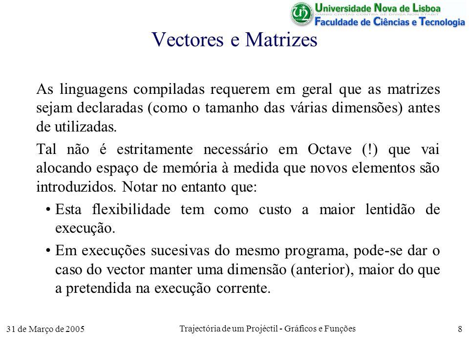 31 de Março de 2005 Trajectória de um Projéctil - Gráficos e Funções 8 Vectores e Matrizes As linguagens compiladas requerem em geral que as matrizes sejam declaradas (como o tamanho das várias dimensões) antes de utilizadas.