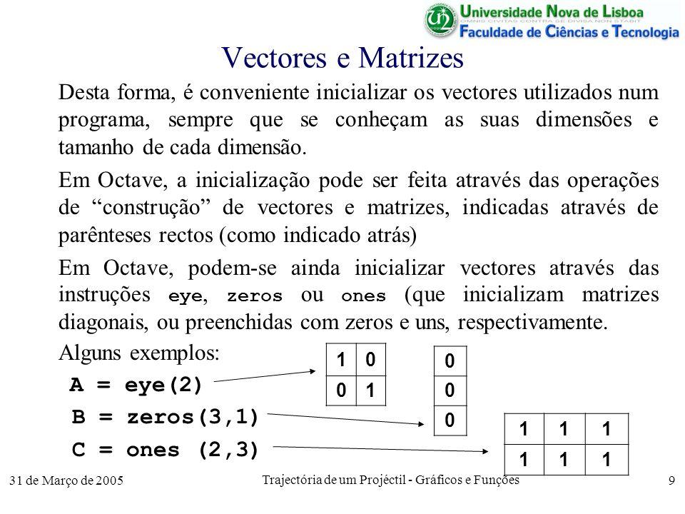 31 de Março de 2005 Trajectória de um Projéctil - Gráficos e Funções 9 Vectores e Matrizes Desta forma, é conveniente inicializar os vectores utilizados num programa, sempre que se conheçam as suas dimensões e tamanho de cada dimensão.