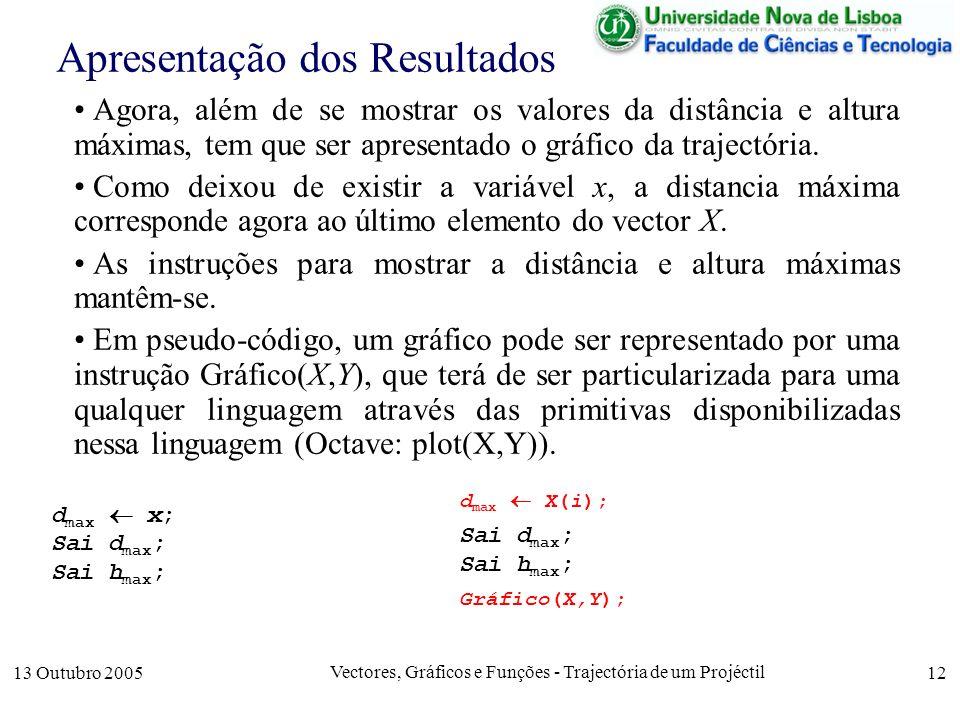 13 Outubro 2005 Vectores, Gráficos e Funções - Trajectória de um Projéctil 12 Apresentação dos Resultados Agora, além de se mostrar os valores da dist