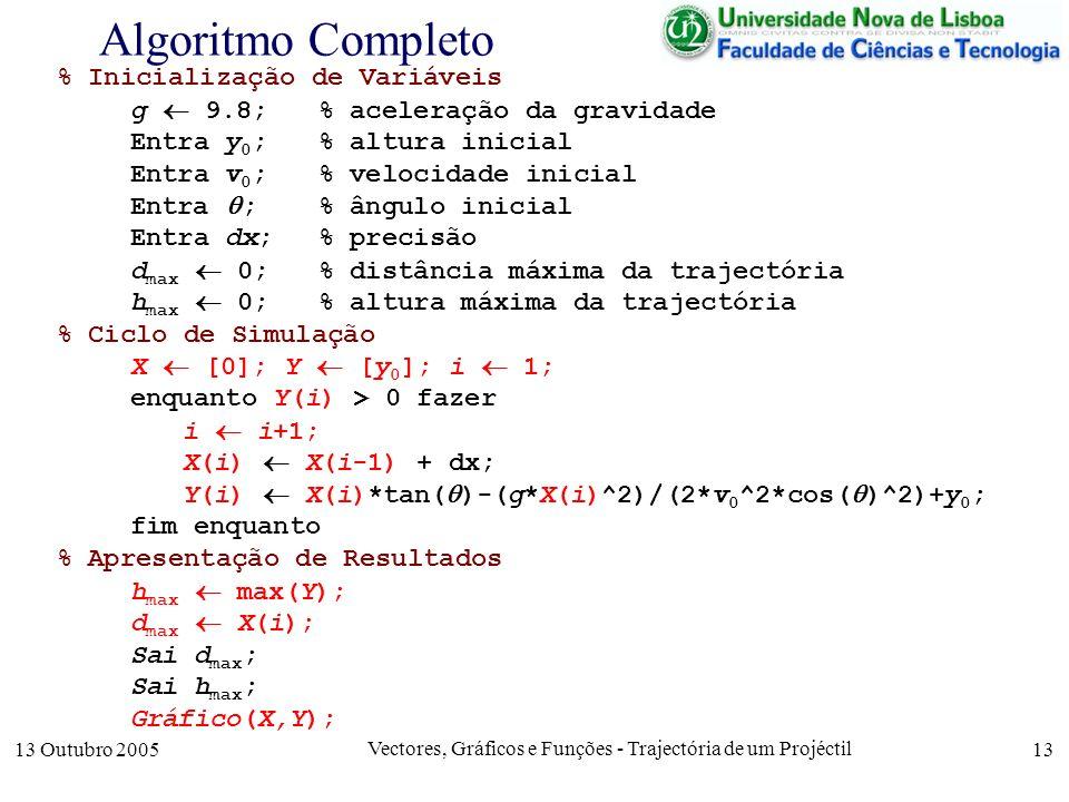 13 Outubro 2005 Vectores, Gráficos e Funções - Trajectória de um Projéctil 13 Algoritmo Completo % Inicialização de Variáveis g 9.8; % aceleração da g