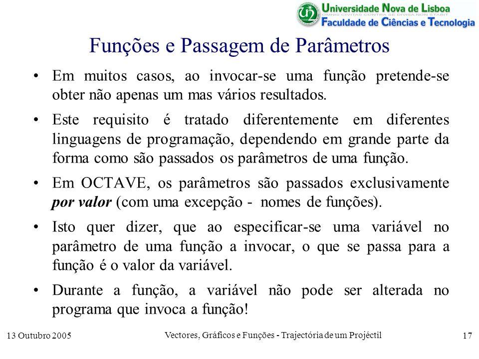13 Outubro 2005 Vectores, Gráficos e Funções - Trajectória de um Projéctil 17 Funções e Passagem de Parâmetros Em muitos casos, ao invocar-se uma funç