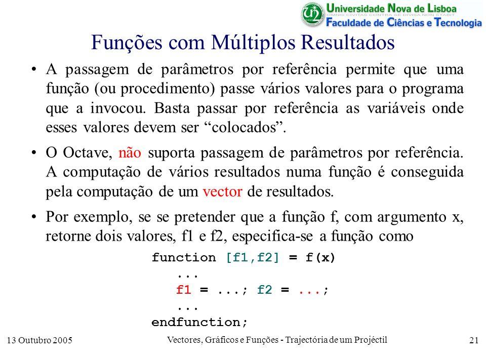 13 Outubro 2005 Vectores, Gráficos e Funções - Trajectória de um Projéctil 21 Funções com Múltiplos Resultados A passagem de parâmetros por referência