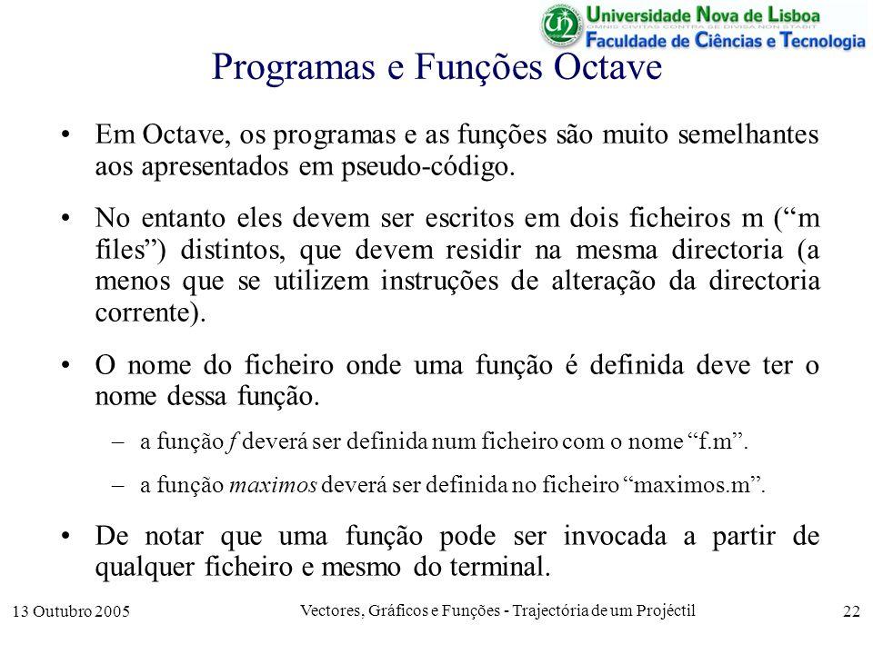13 Outubro 2005 Vectores, Gráficos e Funções - Trajectória de um Projéctil 22 Programas e Funções Octave Em Octave, os programas e as funções são muit