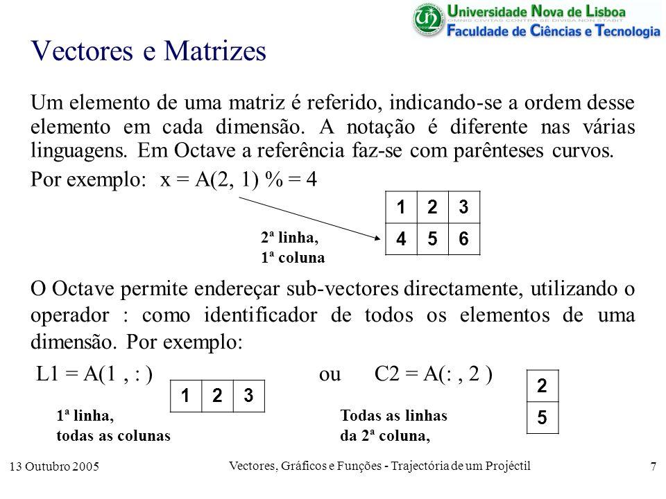 13 Outubro 2005 Vectores, Gráficos e Funções - Trajectória de um Projéctil 18 Passagem de Parâmetros por Valor Exemplo: Consideremos a função function y = f(x) x = 2*x y = x endfunction; Se chamada com o valor x = 5, durante a computação da função, esse valor é duplicado e retornado.