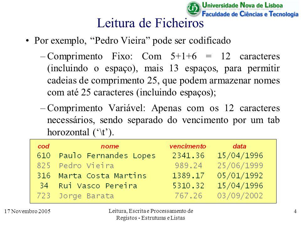 17 Novembro 2005 Leitura, Escrita e Processamento de Registos - Estruturas e Listas 4 Leitura de Ficheiros Por exemplo, Pedro Vieira pode ser codificado –Comprimento Fixo: Com 5+1+6 = 12 caracteres (incluindo o espaço), mais 13 espaços, para permitir cadeias de comprimento 25, que podem armazenar nomes com até 25 caracteres (incluindo espaços); –Comprimento Variável: Apenas com os 12 caracteres necessários, sendo separado do vencimento por um tab horozontal (\t).