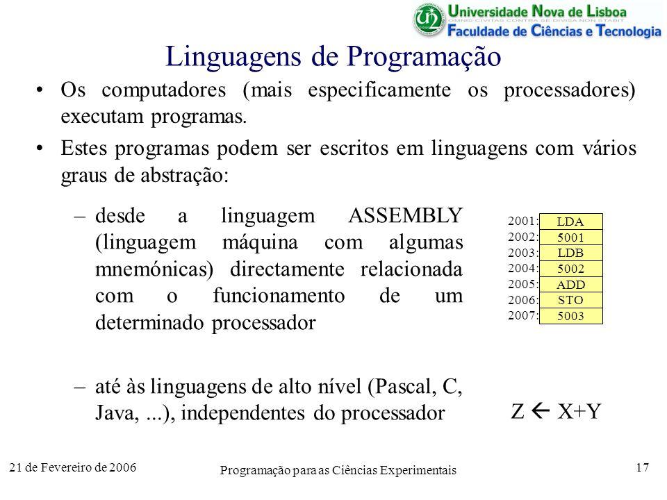 21 de Fevereiro de 2006 Programação para as Ciências Experimentais 17 Linguagens de Programação Os computadores (mais especificamente os processadores) executam programas.