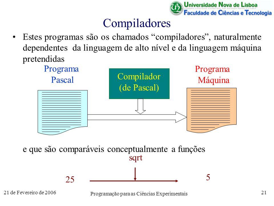 21 de Fevereiro de 2006 Programação para as Ciências Experimentais 21 Compiladores Estes programas são os chamados compiladores, naturalmente dependentes da linguagem de alto nível e da linguagem máquina pretendidas e que são comparáveis conceptualmente a funções Compilador (de Pascal) Programa Máquina Programa Pascal 25 5 sqrt