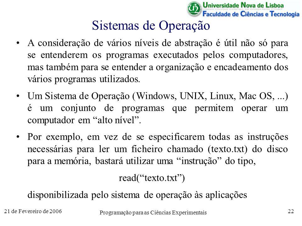 21 de Fevereiro de 2006 Programação para as Ciências Experimentais 22 Sistemas de Operação A consideração de vários níveis de abstração é útil não só para se entenderem os programas executados pelos computadores, mas também para se entender a organização e encadeamento dos vários programas utilizados.