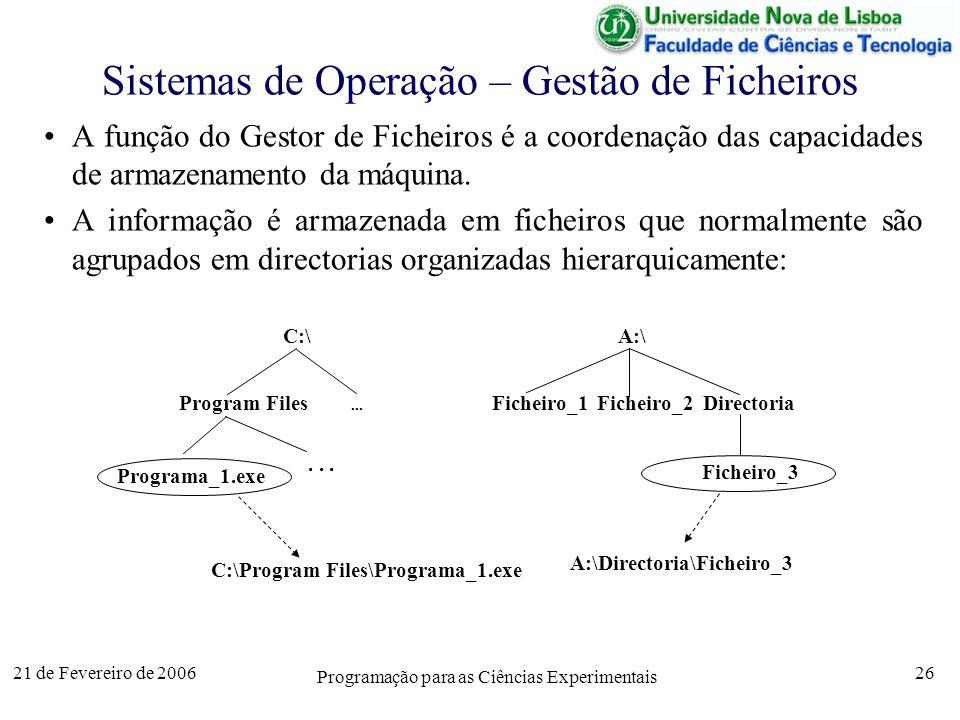 21 de Fevereiro de 2006 Programação para as Ciências Experimentais 26 Sistemas de Operação – Gestão de Ficheiros A função do Gestor de Ficheiros é a coordenação das capacidades de armazenamento da máquina.